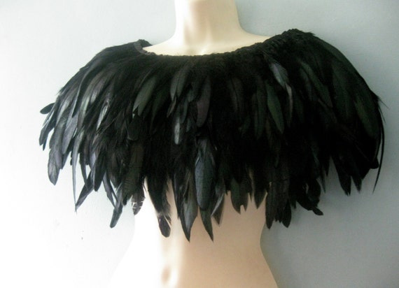 Feather cape. Custom made voluminous Luxe capelet. Black swan wings