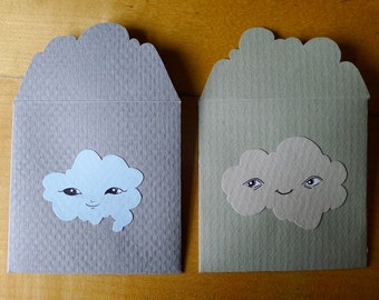 2 Cloud cards lovenotes - with original handdrawn art, made of 100% upcycled gourmet vintage paper