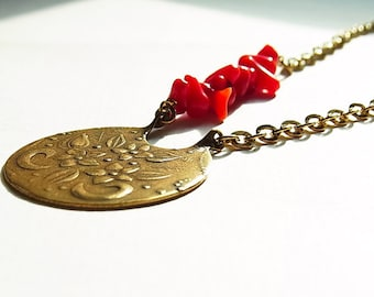 Antiqued Gold Floral Bouquet Pendant with Red Coral Necklace