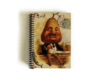 April Fools Pear Man, Spiral Bound Writing Journal, Blank Sketchbook, Back to School Notebook, Cute, Paper, Pocket, A6, Gifts Under 20