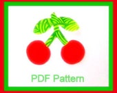 Cherry PDF Pattern Applique DIY - Quilting - No Sew Iron On - Sewing -  Template - Scrapbooking Design - Red Green - Instant Download