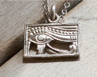 Eye of Horus Necklace - Art Deco Egyptian Revival- Sterling Silver Pendant