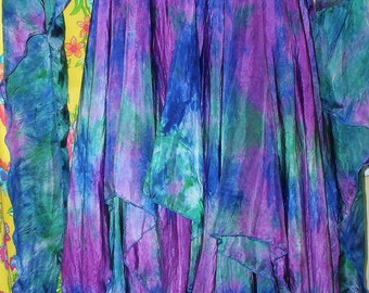 washable FAERIE SILK COSTUME with Wing Dress SKirt fairy gypsy rainbow 3 piece 10 colors