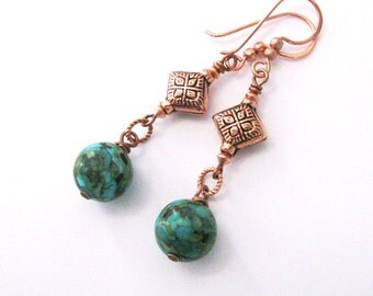 Mosaic Turquoise Boho Earrings, Copper Beads and French Hooks, Ethnic Tribal Style