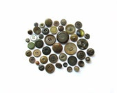 Vintage Olive Buttons . Button Collection . Sewing Supplies