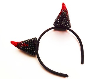 Black and Red Devil Horns, Costume Accessory, Flames, Real Swarovski Crystal, Hair Accessory , Headband and Clip In, Batcakes Couture