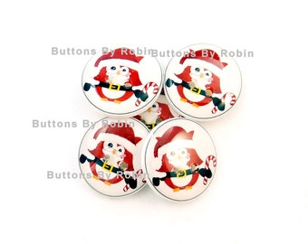 """5 Santa Claus Owl Christmas buttons.   Owl  Buttons. Sewing Buttons.  Novelty Buttons.  Craft Buttons.  3/4"""" or 20 mm Round."""