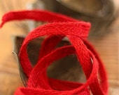3 Yards Of Twisted/Woven  Burlap Bittersweet Red Ribbon