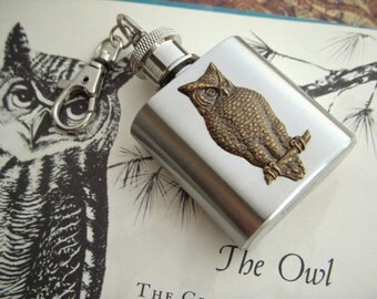 Mini Flask Keychain Brass Owl on 1 Oz  Miniature Size Gothic Victorian Steampunk Style From Cosmic Firefly