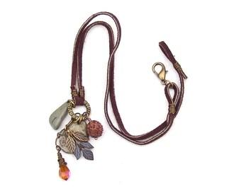 Stone Crystal Necklace Nature Talisman Brown Leaf Wood Amber Orange Earthy Boho Suede