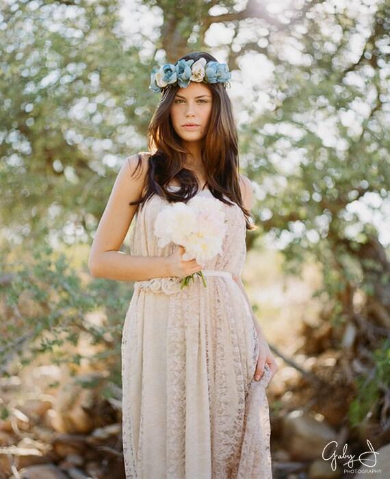 Garden wedding crown, blue floral wreath, bridal hair, hair accessory - Faylinn crown