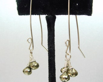 Pyrite Jewelry, Pyrite Earrings, Onion Briolettes, Sterling Silver Earrings, Rocker Fashion Jewelry, Iron Jewelry Bold