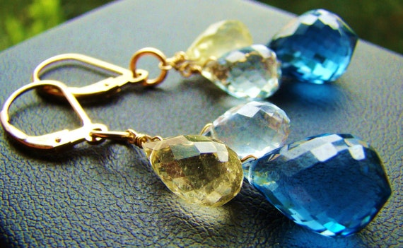 London Blue Topaz Citrine Aquamarine Stone Earrings in Gold