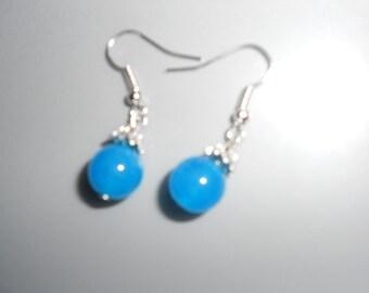 Blue Jade Earrings Wedding Perfect Tibetan Silver - New Age Asian Flair Fashion Beauties