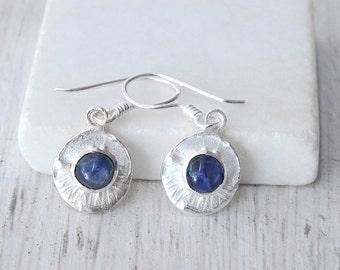 Blue Sapphire Earrings, Sterling Silver Small Round Dangle Sapphire Earrings, Blue Sapphire Jewelry, September Birthstone Gift Idea For Her