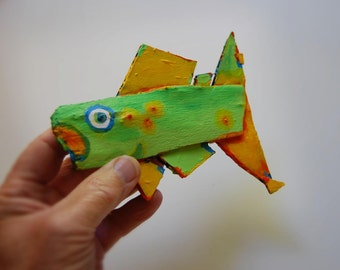 Whimsical Colorful Hanging Fish Art - Recycled Painted Wood - Rustic Handmade Original One Of A Kind Fish Creation