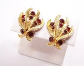 Vintage Red Rhinestone Earrings in Brushed Gold Setting