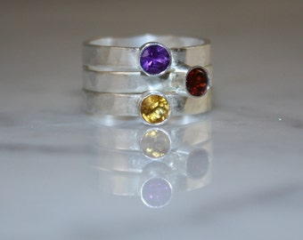 3 Gemstones, Hand Stamped Birthstone Stacking Ring, 3 Family & Mother's Rings, three 4mm Gemstones, Sterling Silver, ruby, custom made