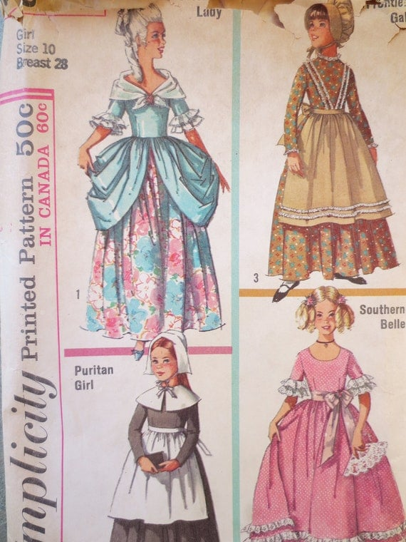 Vintage Simplicity 6205 Sewing Pattern, 1960s Costume Pattern, Child Costume Pattern, Halloween Pattern, Puritan, Frontier, Southern Belle