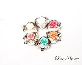 Bridemaids Friendship Locket Necklaces - Petite Rose Heart Shape Locket Adjustable Necklace - Bridesmaid Gift - Choose your Color