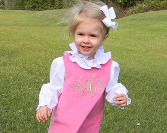 Girls Monogrammed Pink Corduroy Jumper Dress (Size 6 month to Girls Size 6)