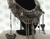 Statement Charm Necklace, Treasure Trove Neck Piece,  Large Couture Bib, Silver n Black, Treasures and Trinkets