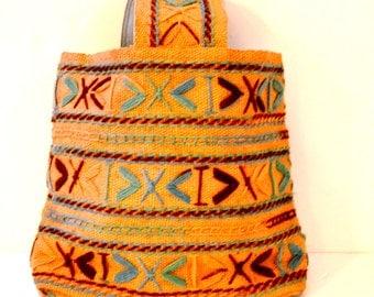 Vtg 70s Large Navajo / Burlap Shoulder Bag/ Ikat Style Tote