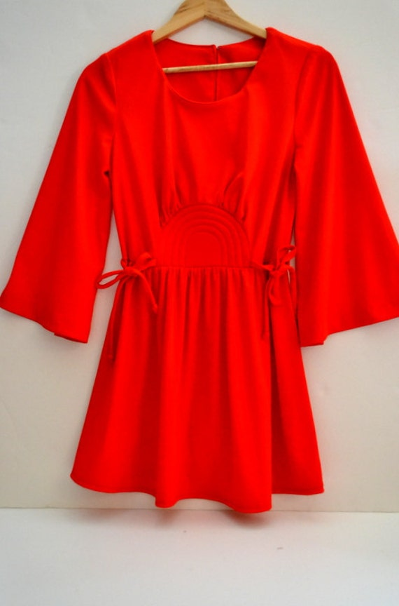 Vintage 1960s-70s / Toni Tod /Red bell sleeve/ Mini dress / deadstock