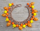 Bright spotty bracelet - tangerine, yellow - neon bracelet