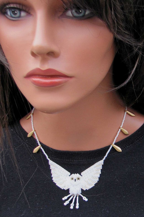 White Owl Bead-Woven Necklace - Seed Bead Necklace - White and Gold Choker Length Beaded Necklace