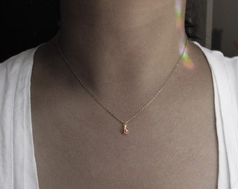 little gold ladybug ruby pink gem charm necklace rhinestone necklace