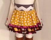 """Girl's Fall Collection """"Flights of Fancy"""" Dress in grey chevron, mustard dots, chocolate birds, creme and mauve multi 18mo- 2t"""