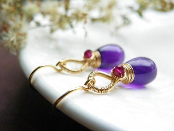 Amethyst Earrings Wrapped in 14k Gold. Fuschia Garnet and Bright Purple Amethyst Earrings. Gemstone Drop Earrings. Gifts for her.