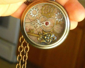 CUSTOM OOAK Vintage Antique Steampunk Victorian Edwardian Art Nouveau Pocket Watch Cosplay Necklace