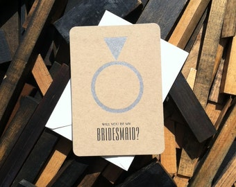 Will You Be My Bridesmaid - (6) letterpress wedding cards on kraft paper