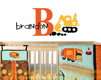 Boys trucks wall decal, Construction Digger Name, Personalized Nursery wall sticker, Kids Vinyl Wall Decal, name wall Sticker for playroom