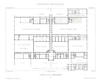 1873 Vintage Architectural Print Floor Plan,  French Architecture, Black and White