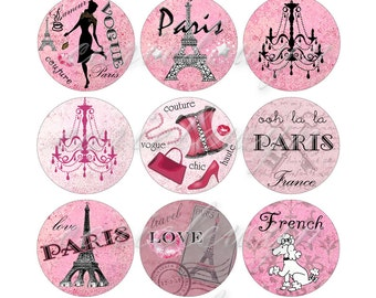 Paris Bottlecap Images / PINK French Poodle, Eiffel Tower, Vintage Postcard / Digital Collage Printable 1-Inch Circles / Instant Download