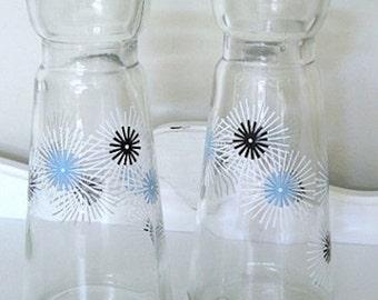 Vintage Apothecary Jar - Set of Two - Atomic Starburst - Pyrex Jar - 1960's - Beaker - Cruet Set - Retro Vessel - Vase