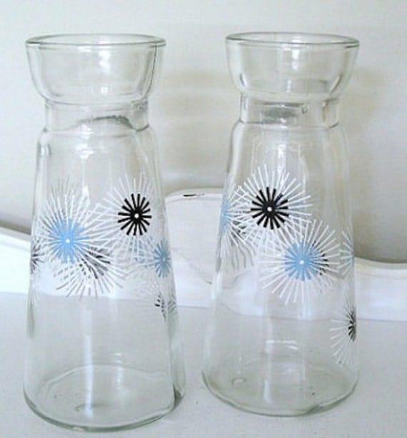 Vintage Apothecary Jar - Set of Two - Atomic Starburst - Pyrex - 60's - Cruet Set - Retro
