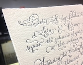 Hand Calligraphy Wedding Invitation - Hand Lettered design -  Invitation & Reception Card Artwork