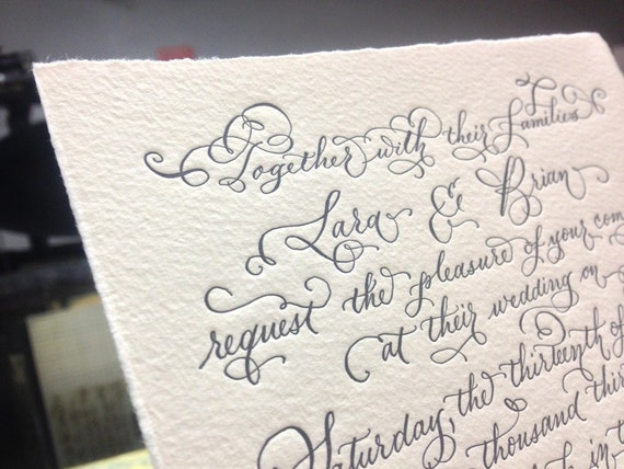 Hand Calligraphy Wedding Invitation Hand Lettered By