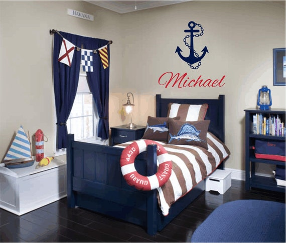 Items Similar To Nautical Vinyl Wall Decal Personalized Name Wall Decals Sailboat Anchor Wall