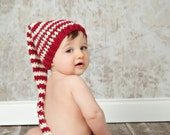 Christmas Stocking Hat/Cranberry and Cream Stocking Hat