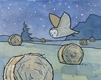 Barn Owl Nursery Art Print, Farm Hay Bales Wall Decor