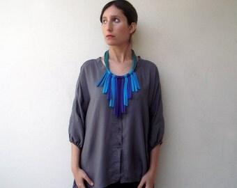Fringe necklace, boho necklace, tribal necklace - Retazos necklace - handmade in jersey fabric