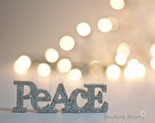 Peace Photo, Silver Gold Christmas Champagne Holiday Lights, Golden Natural Pale Decor Bokeh Glitter Light Word Art Calm Neutral Photograph - findingfocus