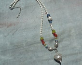 Artisan, Handcrafted, Pearls, and Multi-Gemstone and Sterling Silver Heart Necklace