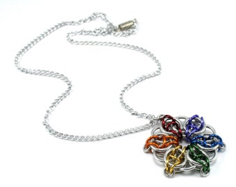 Rainbow Celtic Star Flower Necklace Chainmail Pendant for Women