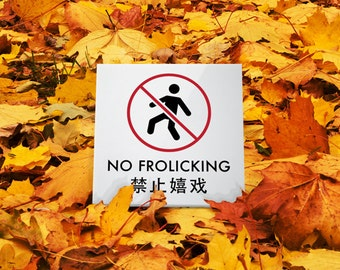 Funny Sign. Yard Sign. Lawn Sign. Keep Out Sign. Chinglish Humor. No Frolicking